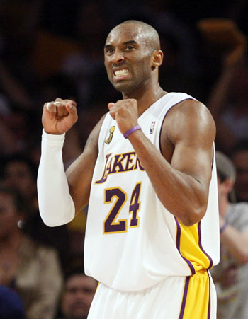 585ddbb8723 Los Angeles Lakers guard Kobe Bryant celebrates in the fourth quarter  during Game 5 of the NBA Finals basketball championship against Boston  Celtics in Los ...