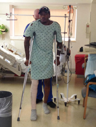 NCAA injured player can walk on crutches |<!-- ab 17447889