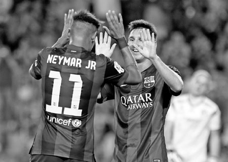 Neymar Messi On Target As Suarez Makes Barca Debut