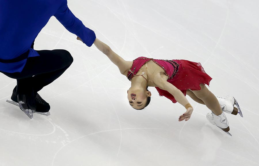 Peng Cheng And Zhang Hao Of China Compete In The Pairs Short Program During ISU World Figure Skating Championships Shanghai March 25 2015