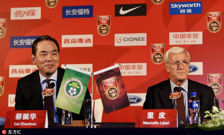 Marcello Lippi Attends The CFA Team China Press Conference In - Conference table football