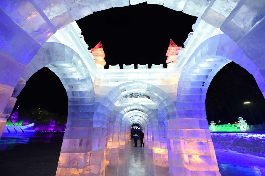 Night view of sculptures at snow expo in NE China[1]