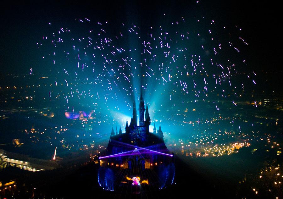 Stunning Firework display at Shanghai Disneyland