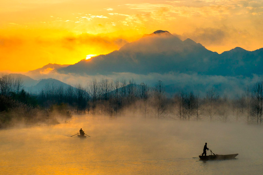 Golden paradise scenery in Central China