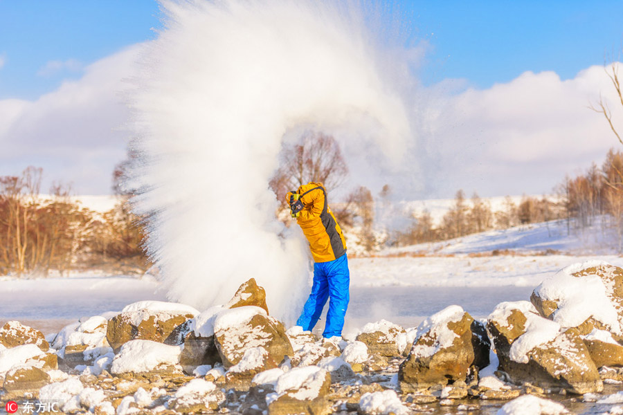 Hot water freezes midair in chilly North China