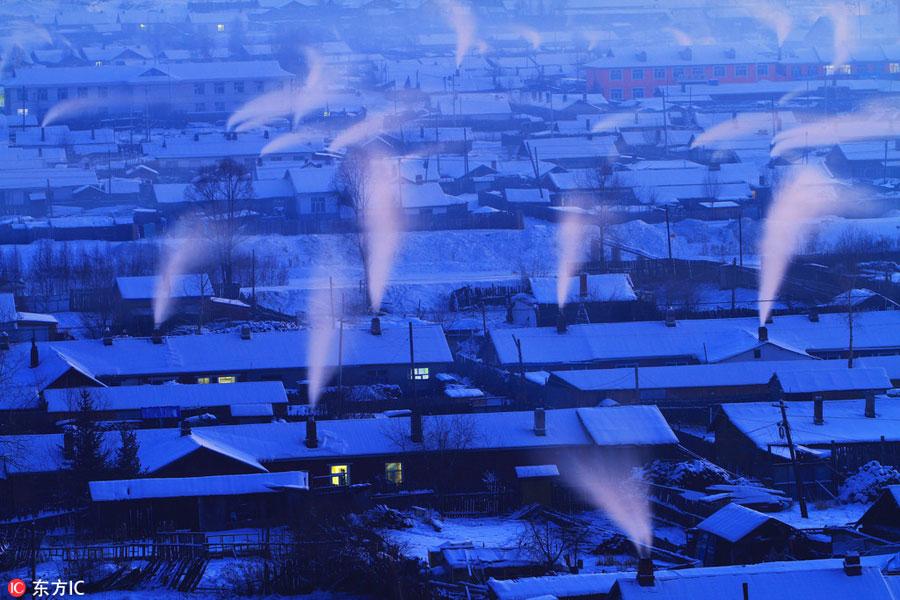 Amazing village snow scenery in NE China