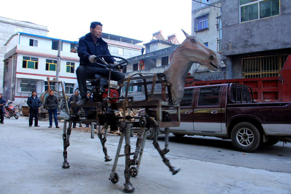 Home-made mechanical horse on street