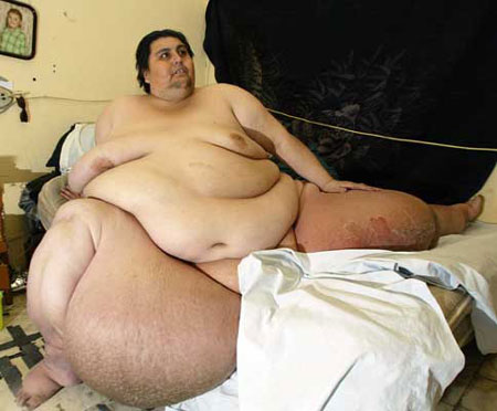 Manuel Uribe, the world's fattest man, according to the Guinness Book