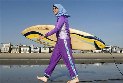 French Pool Bars Muslim Woman For Burquini Suit