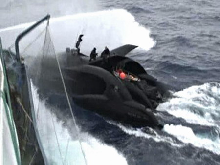 The Sea Shepherd Conservation Society's high-tech powerboat Ady Gil