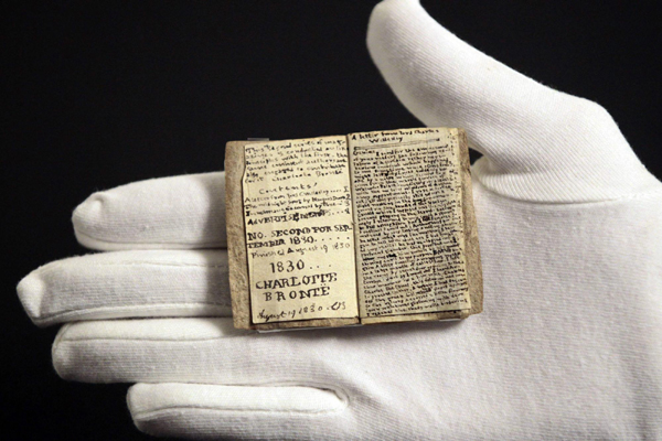 Miniature manuscript by Charlotte Bronte on display