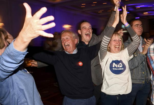 Scottish voters have rejected independence