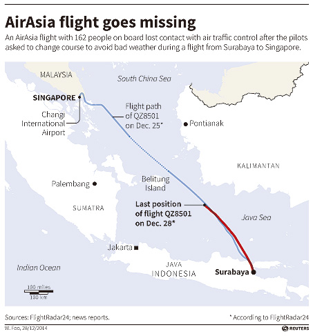 Flight from Indonesia to Singapore goes missing[1]- Chinadaily.com.cn