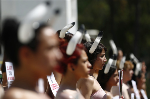 People protest against bullfights in Mexico City