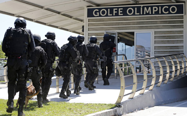 A sign of Rio Olympics: military police security drills