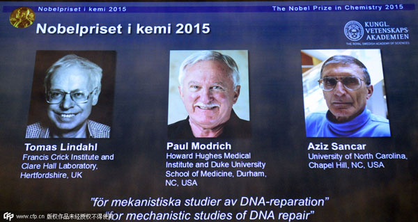 DNA scientists win 2015 Nobel Prize for Chemistry