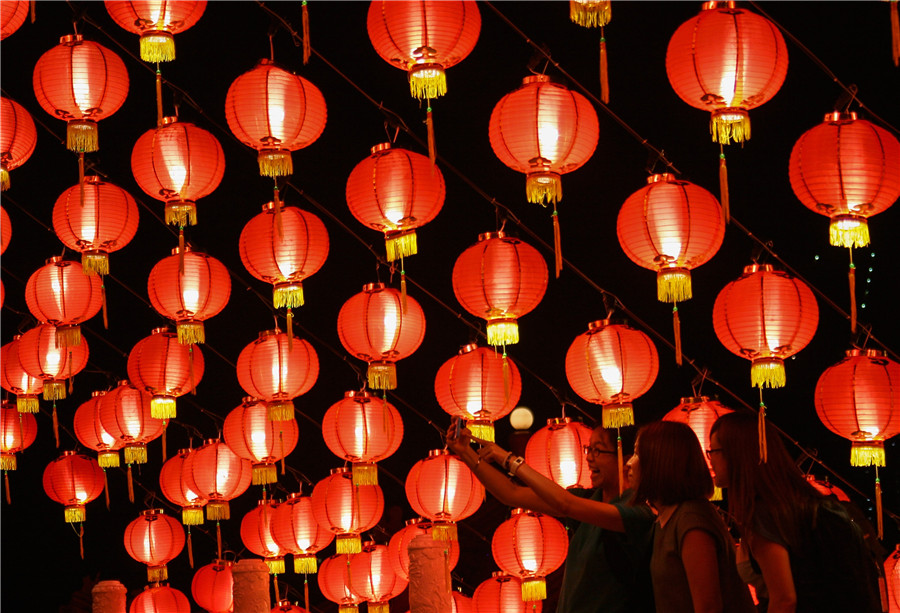 lanterns decorate temple to celebrate chinese new year in kuala lumpur - Chinese New Year Festival