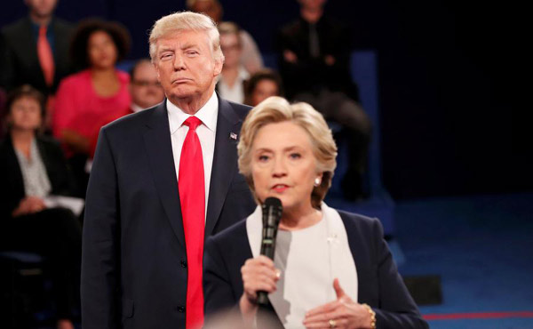 Trump goes on offensive, but Clinton more eloquent on policy