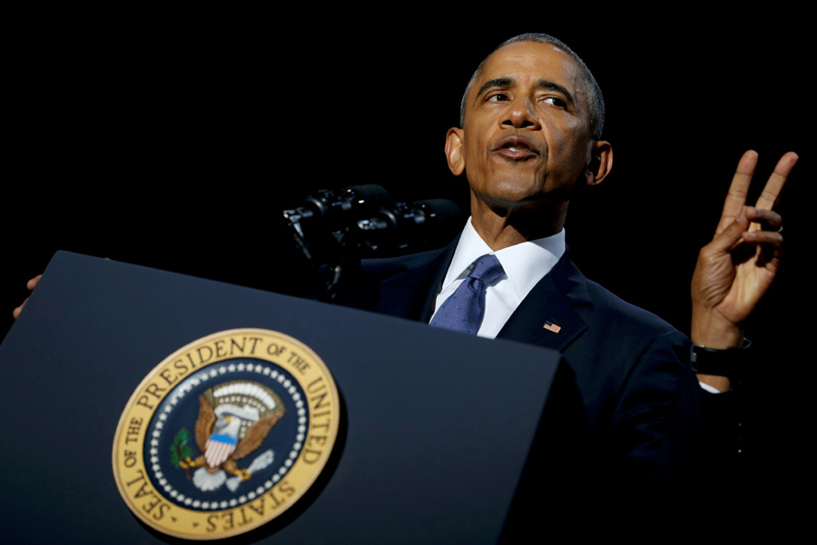 In final address, Obama touts values and prods Trump