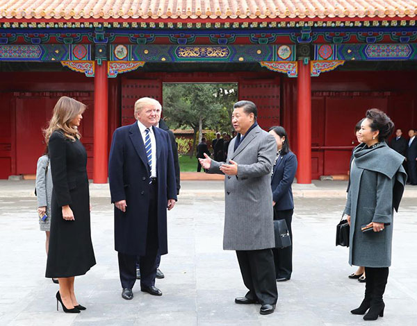 Image result for Trump, Xi and their wives visit the Forbidden City of Beijing