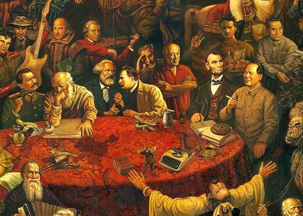 的油画在网上热传,这幅油画以细腻的笔触描绘了103位世界著名人物的形