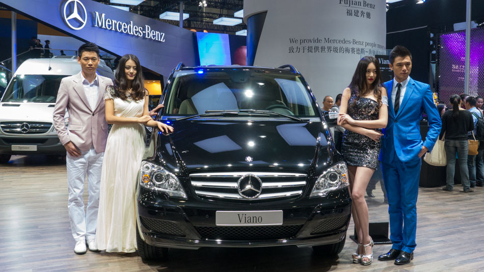 Models at Mercedes pavilion at 2013 Auto Guangzhou