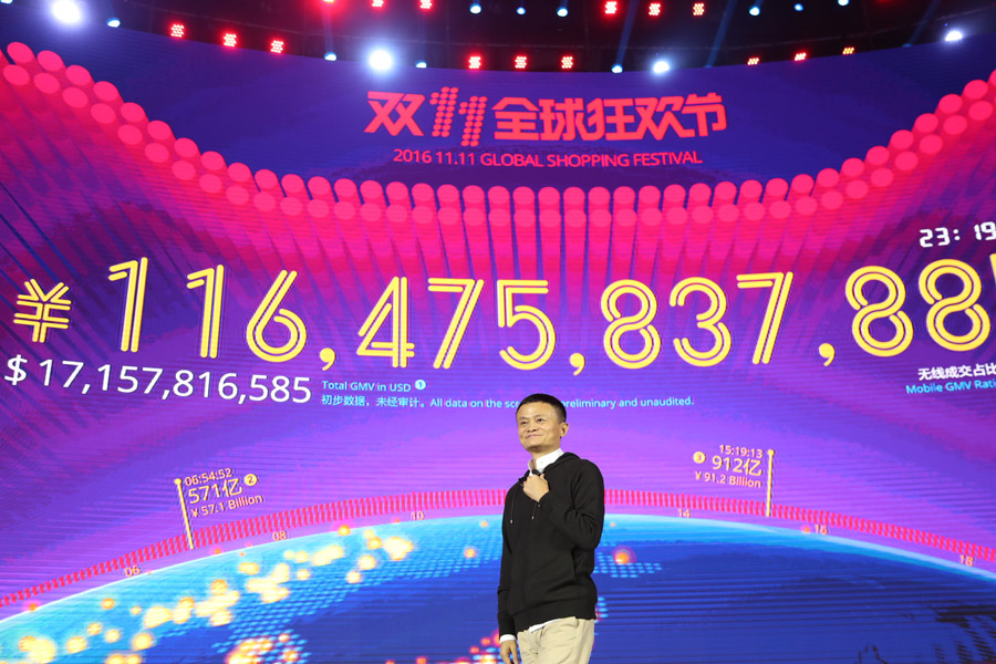 Sales results from 2016's Singles day