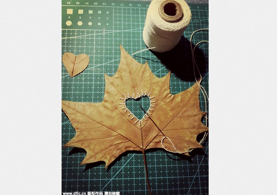 Embroidered leaves are among art teacher's creative works[2