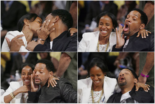 Will Smith kisses his wife Jada in Los Angeles