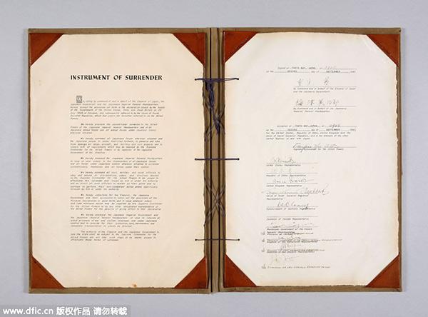 Japan exhibits original document of WWII Instrument of Surrender